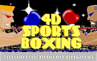 4-D Boxing Amiga The main title screen