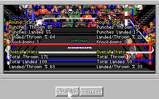 4-D Boxing Amiga At the end of each round fight statistics are displayed