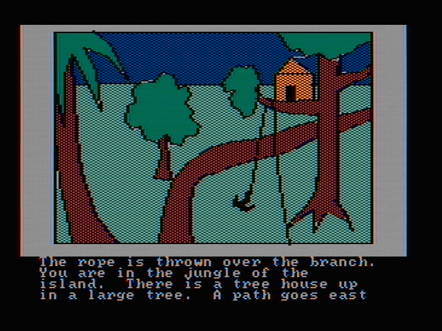 Hi-Res Adventure #2: The Wizard and the Princess PC Booter Climbing up to a tree house (CGA with composite monitor)