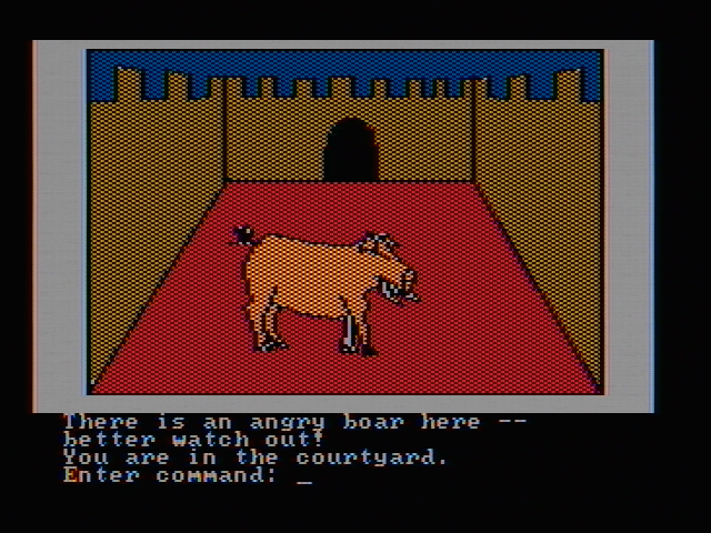 Hi-Res Adventure #2: The Wizard and the Princess PC Booter There is an angry boar here! (CGA with composite monitor)