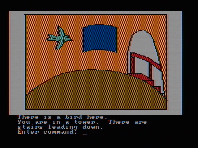 Hi-Res Adventure #2: The Wizard and the Princess PC Booter I suspect that isn't an ordinary bird (CGA with composite monitor)
