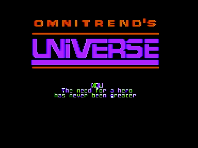 Universe Apple II Title screen