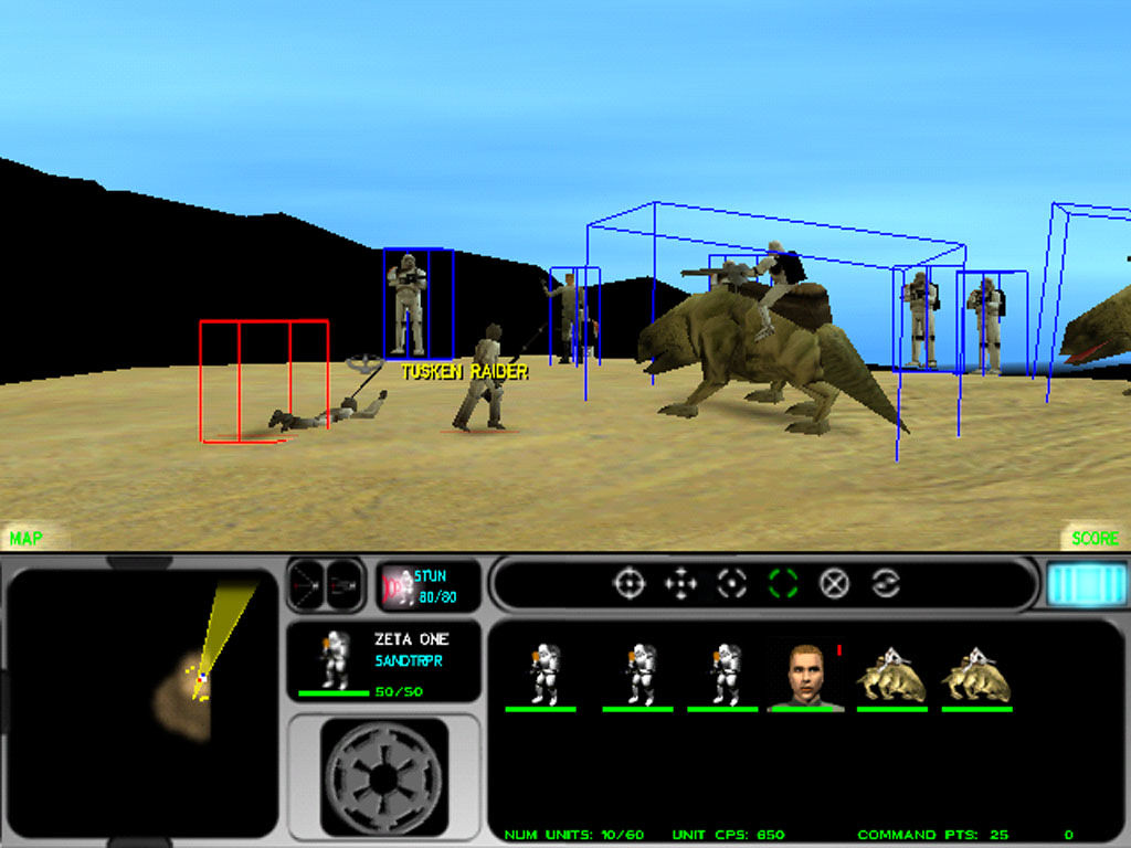 Star Wars: Force Commander Windows Some very foolish Tusken Raiders attack your unit.