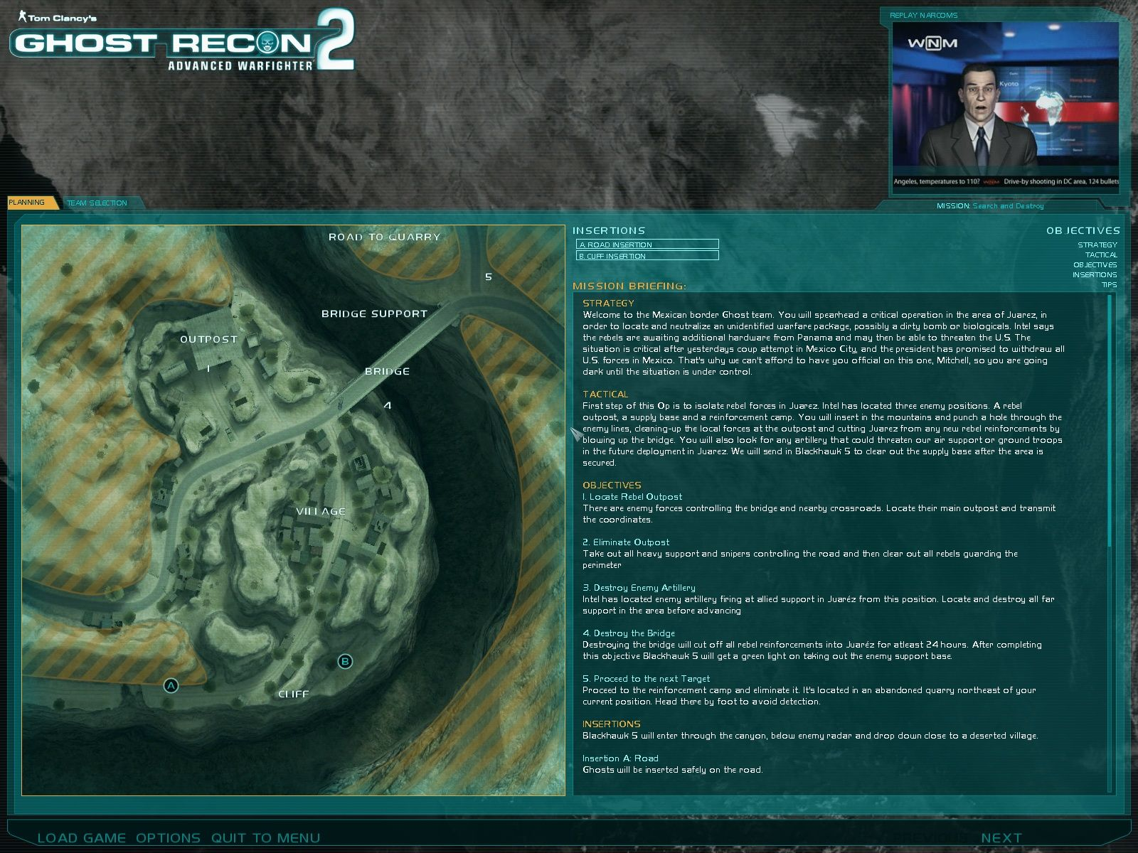 Tom Clancy's Ghost Recon: Advanced Warfighter 2 Windows Mission briefing