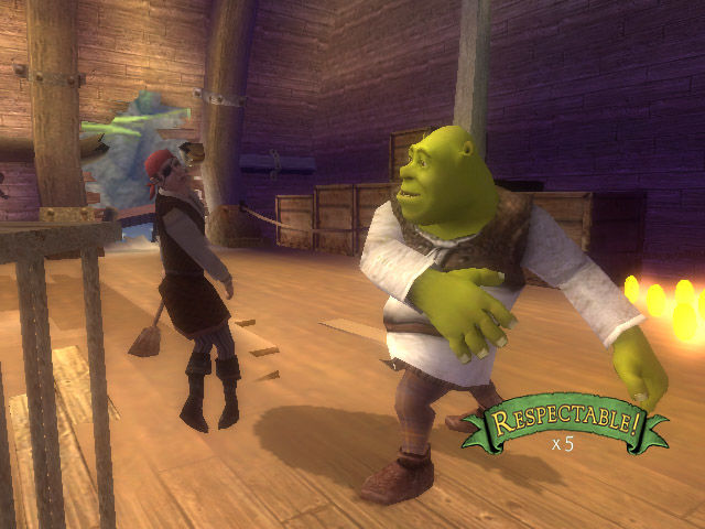 Shrek the Third Wii Shrek swats a pirate.