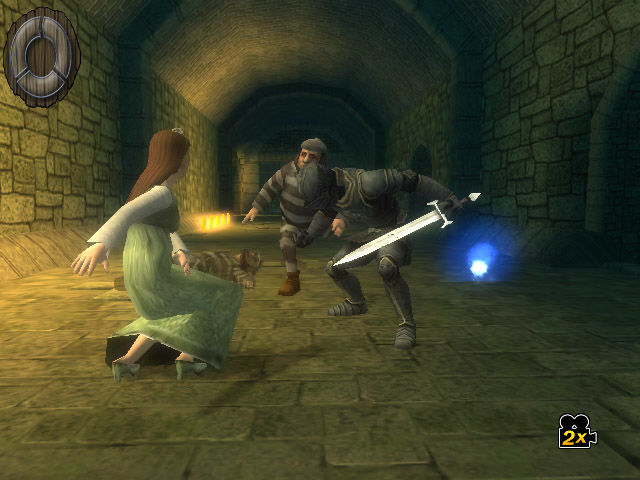 Shrek the Third Wii Sleeping Beauty escapes Charming's prison.