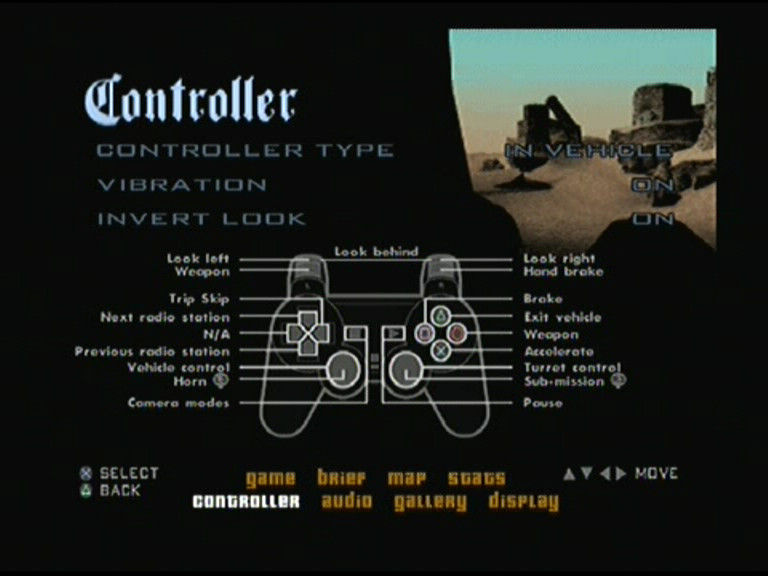 Grand Theft Auto: San Andreas PlayStation 2 Main Menu - Controller settings - In vehicle setup