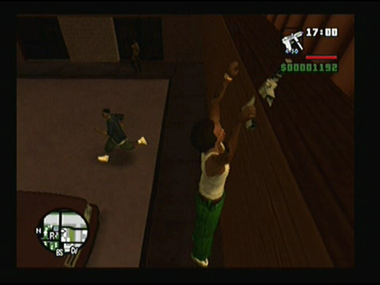 Grand Theft Auto: San Andreas PlayStation 2 CJ can go over obstacles and grab on ledges to pull himself up on the roof