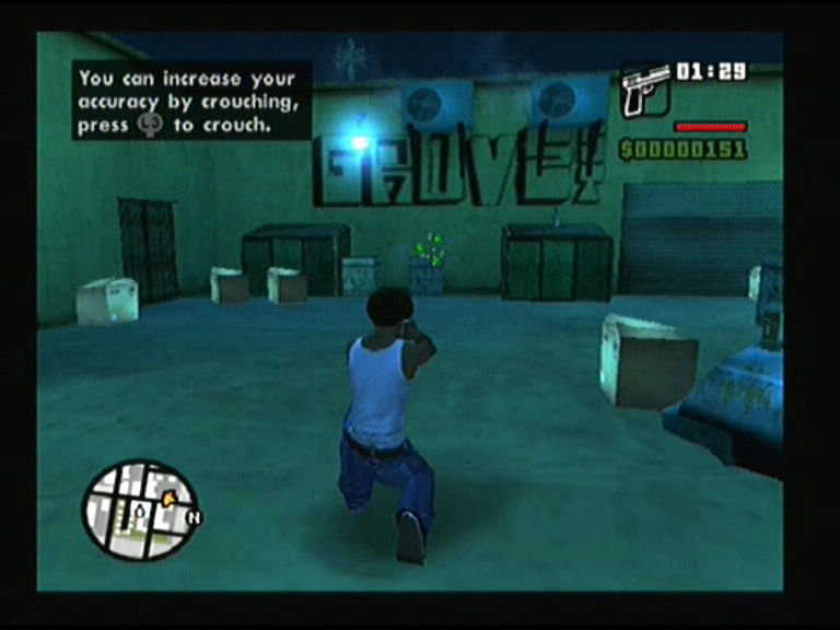 Grand Theft Auto: San Andreas PlayStation 2 Crouching increases accuracy