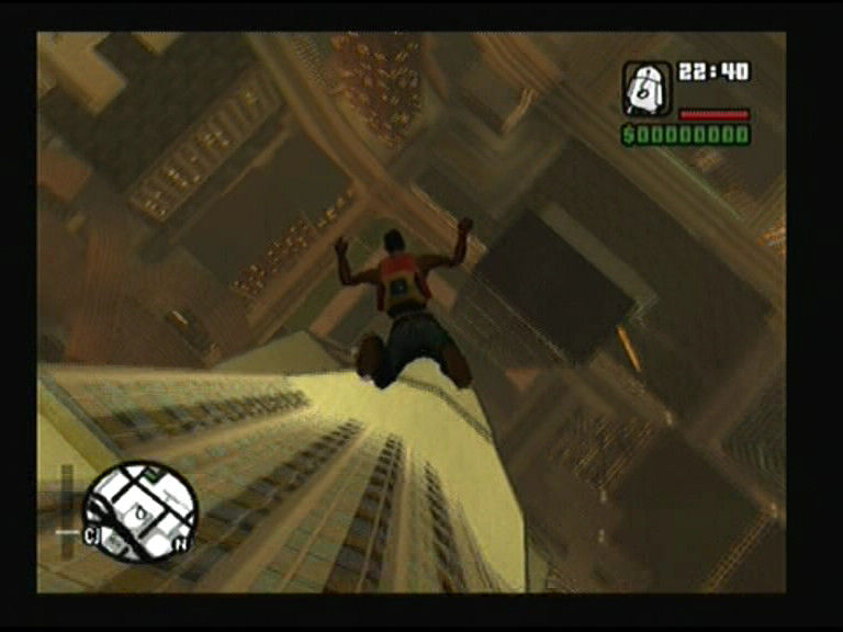 Grand Theft Auto: San Andreas PlayStation 2 Remember to jump off the ledge or you may drop on lower terrace