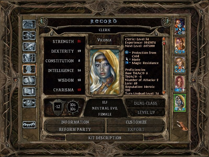 Baldur's Gate II: Throne of Bhaal Windows An 8 Million point experience cap means your characters can reach extremely high levels...