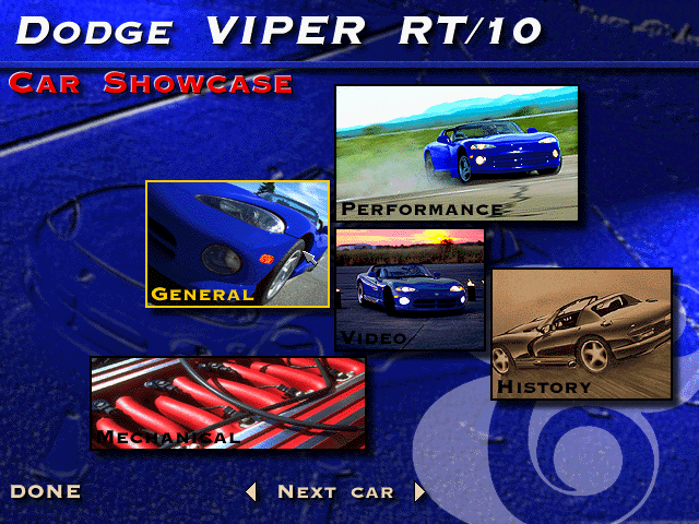 "The Need for Speed DOS Each car has a ""showcase"" with lots of information and photos."