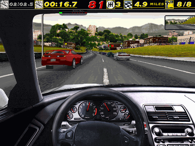 The Need for Speed DOS Racing the NSX through the City course.