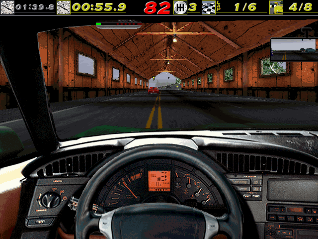 The Need for Speed DOS Cruising through a tunnel in the Vette at Vertigo Ridge.