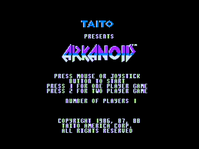Arkanoid Apple II Title screen