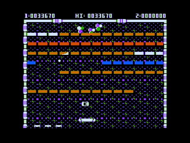 "Arkanoid Apple II Catch that ""E"" for an extra large paddle."