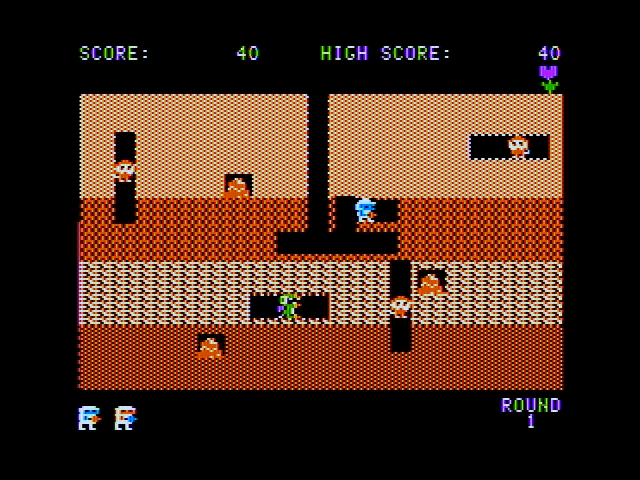 Dig Dug Apple II Gameplay on the first level