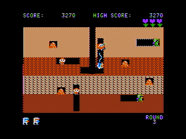 Dig Dug Apple II Using the air pump on an opponent.