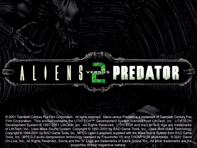 Aliens Versus Predator 2 Windows Title screen