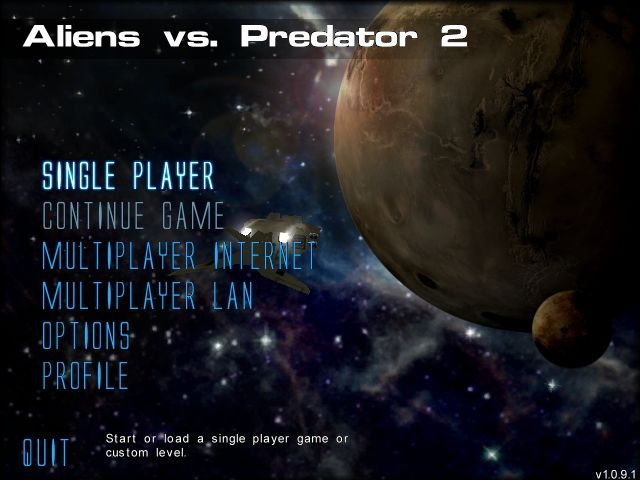 Aliens Versus Predator 2 Windows Main menu