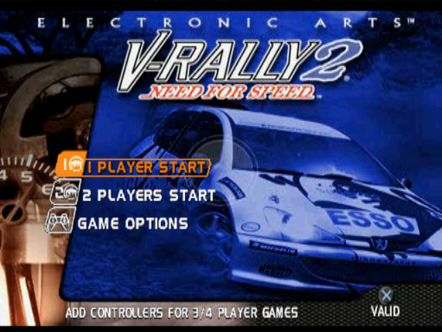 Need for Speed: V-Rally 2 PlayStation Title screen / Main menu