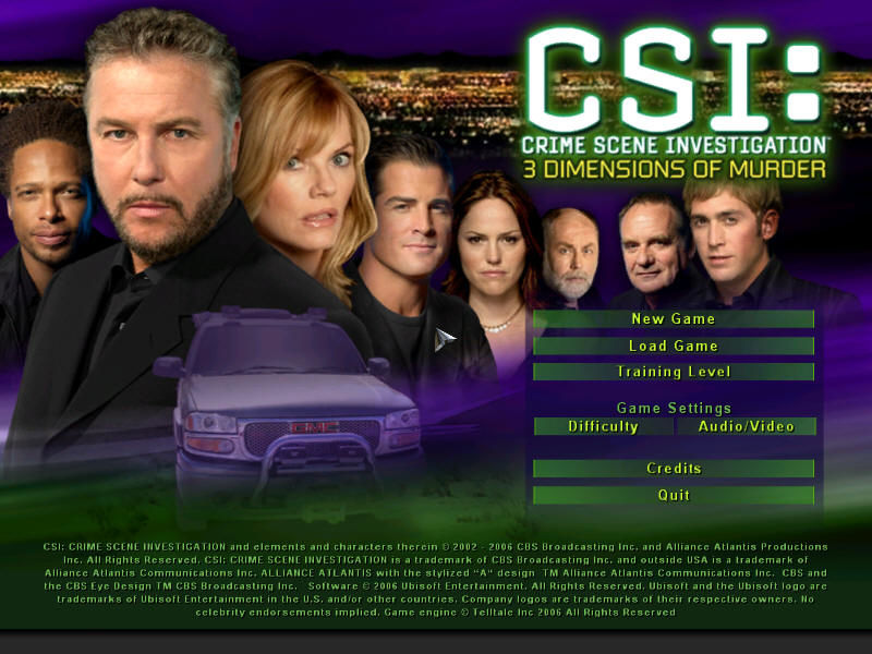 CSI: Crime Scene Investigation - 3 Dimensions of Murder Windows Title screen