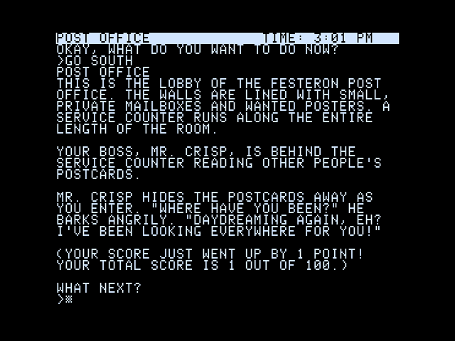 Wishbringer Apple II Starting location; entering some commands (40 column mode)