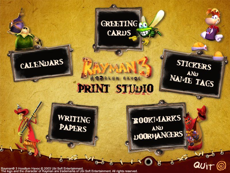 Rayman: 10th Anniversary Collection Windows Rayman 3 Woodlum Havoc Print Studio: Main Menu