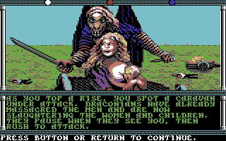 Champions of Krynn Commodore 64 Draconians are attacking a caravan