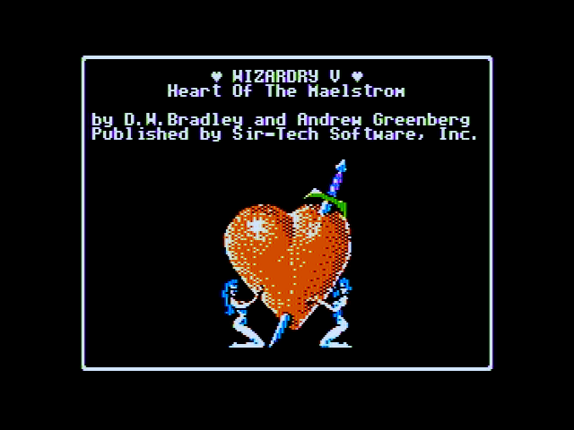 Wizardry V: Heart of the Maelstrom Apple II Title screen