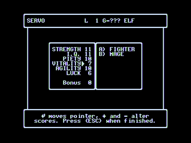 Wizardry V: Heart of the Maelstrom Apple II Setting up characters