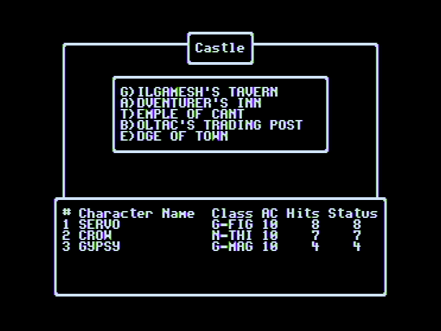 Wizardry V: Heart of the Maelstrom Apple II Game menu while at the castle