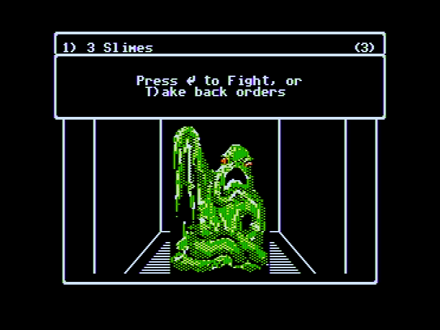 Wizardry V: Heart of the Maelstrom Apple II A slime attacks! Ready to fight?
