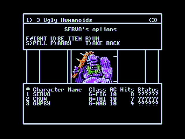 Wizardry V: Heart of the Maelstrom Apple II An encounter...what would you like to do?