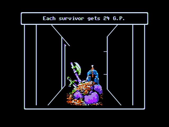 Wizardry V: Heart of the Maelstrom Apple II Collecting treasures after a battle