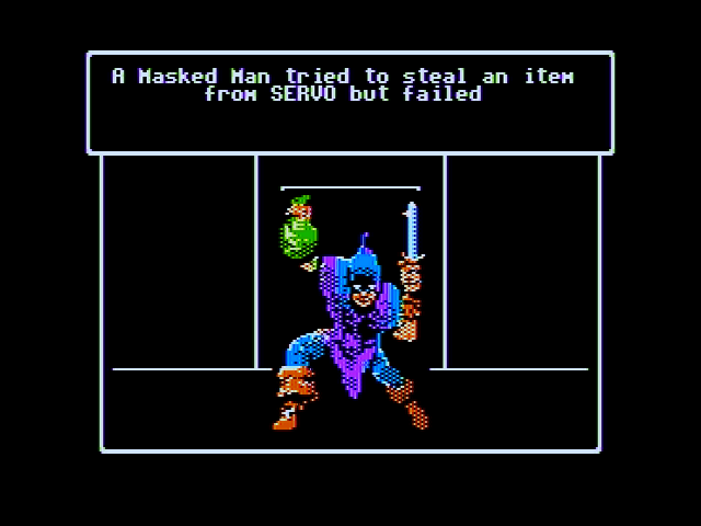 Wizardry V: Heart of the Maelstrom Apple II Hey, this masked man tried to steal from me!
