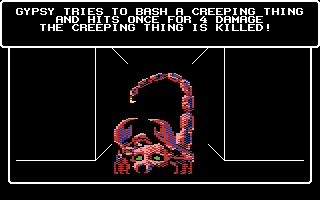 Wizardry V: Heart of the Maelstrom Commodore 64 I killed a creeping thing!
