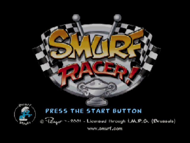 Smurf Racer PlayStation Title screen.