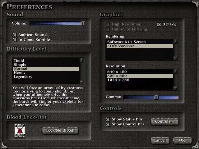 Myth II: Soulblighter Linux Preferences (Linux Version)