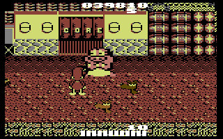 Dynamite Düx Commodore 64 Stage 2 - throwing bombs at a large enemy