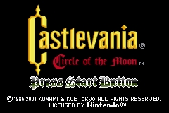 Castlevania: Circle of the Moon Game Boy Advance Title Screen