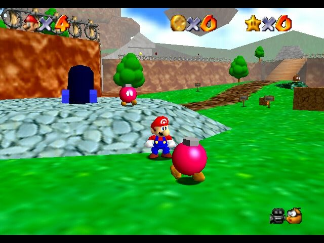 Super Mario 64 Nintendo 64 Bob-omb Battlefield - the first stage you'll be able to play