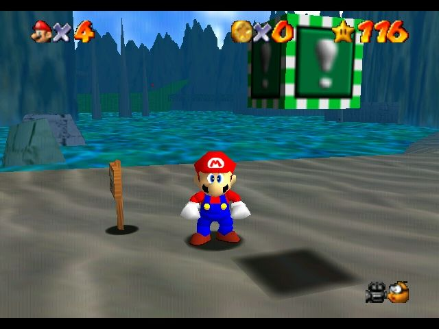 Super Mario 64 Nintendo 64 Mario near a Metal Cap in Jolly Roger Bay