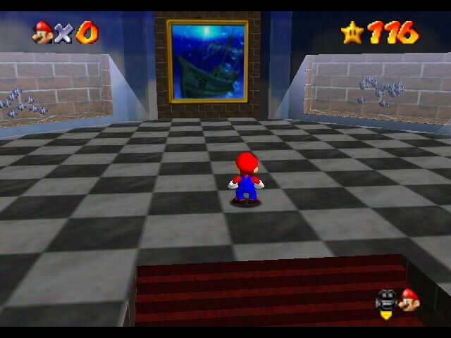 Super Mario 64 Nintendo 64 The Jolly Roger painting - you actually have to jump inside paintings to enter the stages