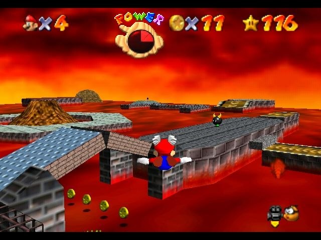 Super Mario 64 Nintendo 64 Flying in Lethal Lava Land