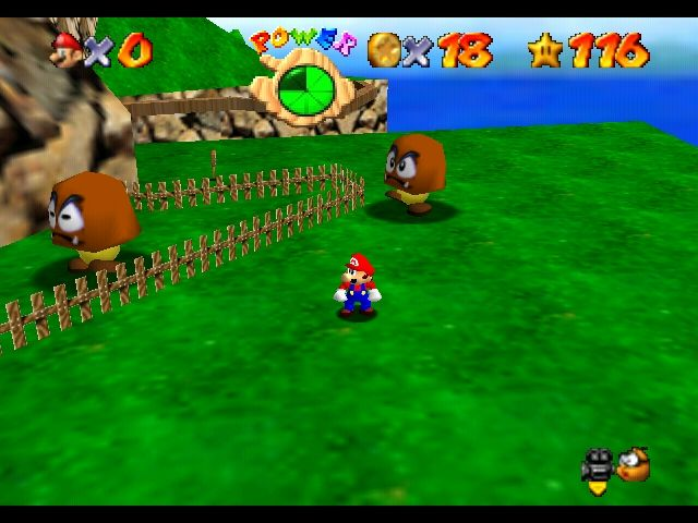 Super Mario 64 Nintendo 64 Tiny-Huge Island - there's something wrong with this place after all