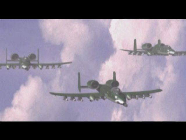 Command & Conquer PlayStation A cutscene showing A-10 Warthogs.