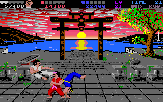Chop N' Drop Amiga Score 50000 points and you earn the black belt.