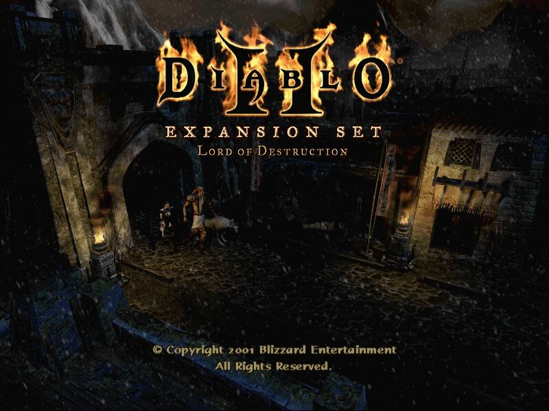 Diablo II: Lord of Destruction Windows LOD's title screen, featuring the two new character classes