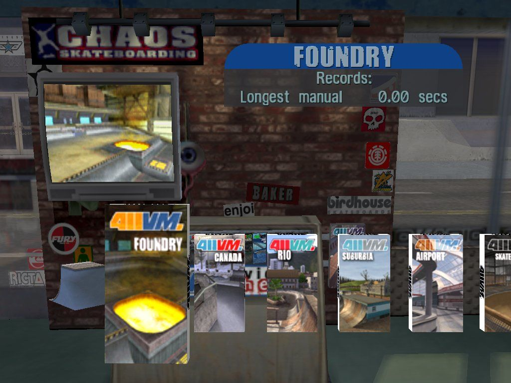 Tony Hawk's Pro Skater 3 Windows Level selection